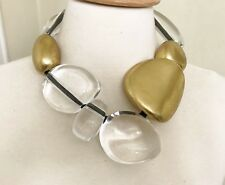 Stunning Gerda Lynggaard Monies Large Chunky Lucite & Gold Leaf Wood Necklace