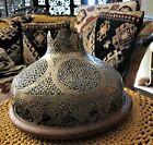 "Antique Islamic Brass Lamp Shade Pierced Geometrical Cartouches 11"" x 7"""