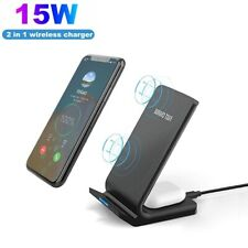 2 In 1 15W Qi Fast Wireless Charger Charging Dock Stand For iPhone 12 Pro Max 11