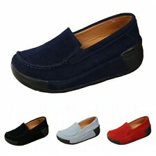 Womens Faux Suede Slip On Round Toe Thick Bottom Creepers Shoes Casual Loafers L