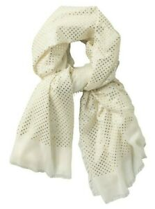 GUCCI Womens Soft Modal & Cashmere Blend Shawl Scarf White / Gold, Made in Italy