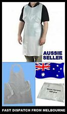100 x Disposable White Plastic Aprons kids craft, art, Nurse, Carer, Catering,