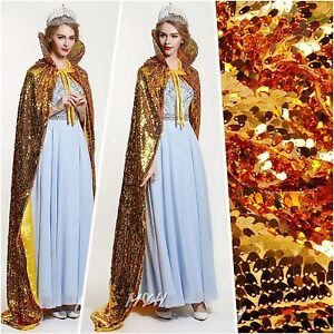 """Paillette Satin Wedding Cloak 71"""" Long Cape Wicca Robe Pageant Cosplay Costumes"""