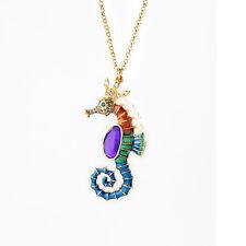 NEW * Urban Anthropologie Sea Horse Enamel Rainbow Pearl Gold Necklace