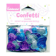 Pink & Teal Heart Confetti, Bridal Shower, Metallic Table Scatter, Ms Quince