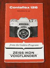 ZEISS IKON CONTAFLEX 126 INSTRUCTION BOOK/126058
