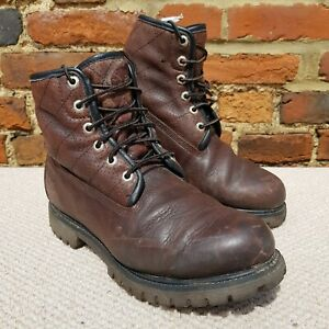 TIMBERLAND Mens Boots Brown Leather Premium 6 Inch Waterproof Size UK 9.5 W