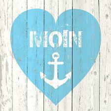 20 Servietten Ozean Meer See Brise Nordsee Ostsee Anker Blau/weiß Herz Moin