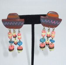Dangle Earrings Wooden Beaded Handcrafted Sombrero Hat Mexico Unique Colorful
