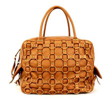 DIOR $2,800 Caramel Brown Caged Leather Metal Ring CROISETTE Bowler Bag