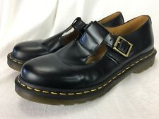 Women's Shoes Dr. Doc Martens Polley T-Strap Mary Jane Black New Leather Size 11