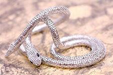 Fashion Long Silver Snake White Rhinestone Bib Pendant Necklace Gift N001