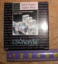 US ACRYLIC NEW Clear Salt & Pepper Shakers 4 Napkin Rings Set
