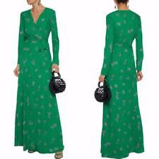 AUTH Diane Von Furstenberg Green Flying Bird Peggy printed Maxi Wrap Dress
