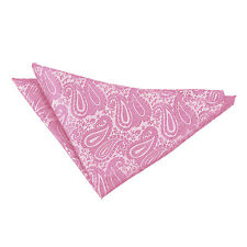DQT Woven Floral Paisley Baby Pink Formal Handkerchief Hanky Pocket Square
