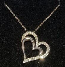 f81880e33 Kay Diamond Heart Necklace 1/4 ct tw Round-cut Sterling Silver NIB No