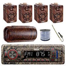 "Pyle Marine Bluetooth Camo Radio + Cover, 4x 3.5"" Speakers, Antenna, 50 Ft Wire"