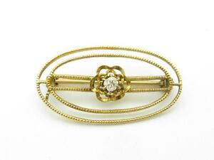 10k Yellow Gold & Diamond Vintage Estate Oval Shape Brooch Pin Hand Made Gift