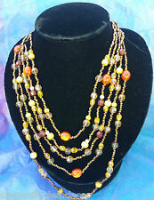 5 Strand Autumn Fall Orange Copper Maroon, Gold Coloured Bead Bib Necklace