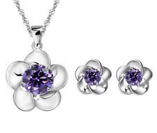 "Fashion Silver Flower Amethyst Purple Pendant Necklace Stud Earrings Set 18"" B12"