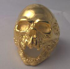 G-Filled Mens 18k gold MASSIVE skull ring gothic bikie heavy 34 grams biker 14.5