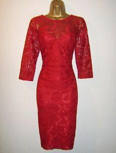 LIPSY KIM KARDASHIAN KOLLECTION FAB RED LACE EVENING PARTY DRESS SIZE 10 12 NEW