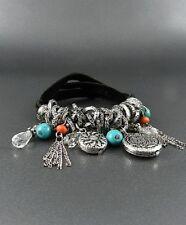 black suede silver charm stretch bracelet cuff bangle tassel fringe boho