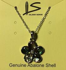 "Hawaiian Abalone Shell Plumeria Pendant 18"" Necklace Hawaii Islands Jewelry NIB"