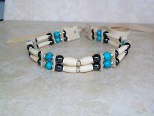 Native American Bone Choker Turquoise & Hematite Stones Silver Beads Regalia