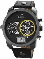 Herrenuhr Schwarz Analog Digital Leder Dual Timer D-227374000002