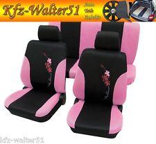 Für VW Golf Plus, Jetta, Käfer Sitzbezüge Schonbezüge FLOWER schwarz pink rosa