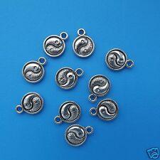 10 Tibetan Silver Yin Yang Pendant Charms 3d Beads