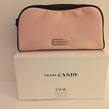 Prada Candy Soft Pink Black Satin silky Makeup cosmetic case pouch NIB travel