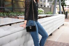Authentic Chanel Black Velvet Quilted Shoulder CHain Crossbody Bag O Mini Clutch