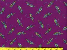 Small Parrots on Grape Purple Mary Fons Collection Quilting Fabric by Yard #732