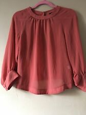Topshop Coral Open-back Blouse Shirt Size 8