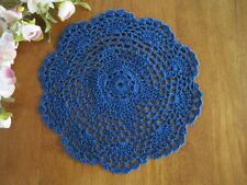 Chic Flower Hand Crochet Cotton Round Deep Blue Doily