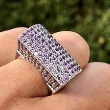 Amethyst Diamond 14K White Gold Modernist Designer Cocktail Saddle Ring Huge