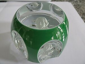 1971 BACCARAT Crystal Faceted OVERLAY CAMEO Paperweight Andrew Jackson Sulphide