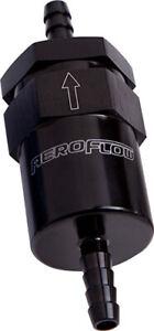 """Aeroflow AF610-08BLK Billet Fuel Filter 1/2"""" Barb Black (Bronze Filter)"""