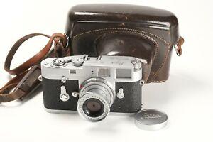 Leitz Leica M2 Nr. 1029685, Elmar 2,8/50 Nr. 1728672, 1x Deckel, Tasche