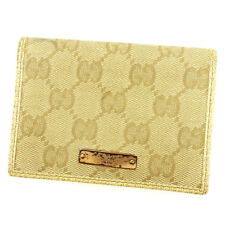 Gucci Card Case GG Beige Brown Woman unisex Authentic Used A1564