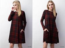 Medium JODIFL Red PLAID Soft Knit Swing Dress Long Sleeve Boho Tunic Top