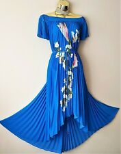 Bnwt Ted Baker Melma Blue Floral Harmony Pleated Maxi Flare Evening Dress 10 TB2