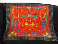 Celine Paris Red Gold Green Blue Equestrian Bridle Print Silk Scarf Stunning
