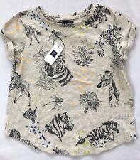 NWT Gap Kids Size 6-7 Years Oatmeal Jungle Print Short Sleeve Cotton Top Shirt