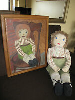 Raggedy Andy Doll and Painting signed Betty Wagner vintage hand made 1967