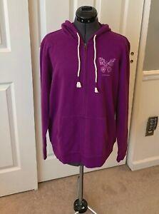 Women's LIFE IS GOOD Purple Butterfly Zip-Up Hoodie Sweatshirt M NWT