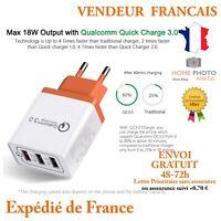 Prise mural chargeur adaptateur Rapide 5V 3A 3 ports USB  pour IPhone, Samsung