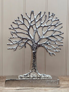 Silver Metal Tree of Life Ornament Decoration Gift Home 28cm